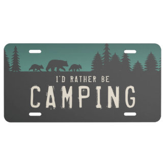 I'd Rather be Camping - Bear Silhouettes License Plate