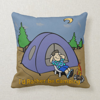 I'd Rather Be Camping - Camp Scene American MoJo T Throw Pillow