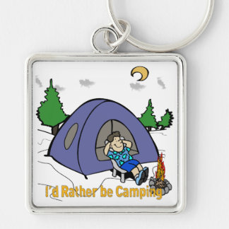 I'd Rather Be Camping - Camp Scene Square Keychain