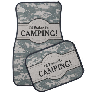 I'd Rather Be (Camping) Digital Camo Personalized Car Mat