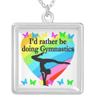 I'D RATHER BE DOING GYMNASTICS SILVER PLATED NECKLACE