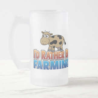 I'd Rather Be Farming - Brown Dairy Cow 16 Oz Frosted Glass Beer Mug