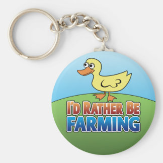 I'd Rather be Farming! duck (Virtual Farming) Basic Round Button Keychain