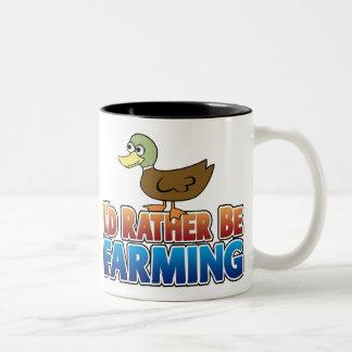 I'd Rather be Farming! DUCK (Virtual Farming) Two-Tone Coffee Mug