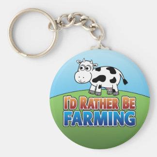 I'd Rather be Farming! (Virtual Farming) Basic Round Button Keychain