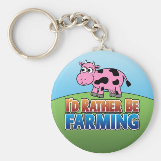 I'd Rather be Farming! (Virtual Farming) Basic Round Button Keychain