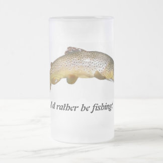 I'd rather be fishing beer muh frosted glass beer mug