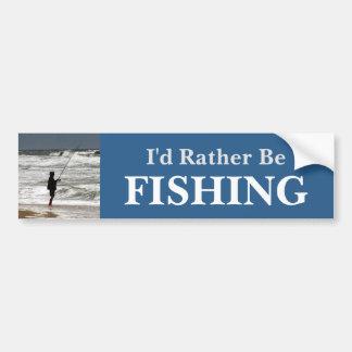 I'd Rather Be Fishing/Blue Bumper Sticker