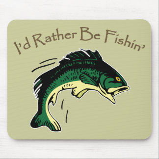 I'd Rather Be Fishing Hobby Print Mouse Pad