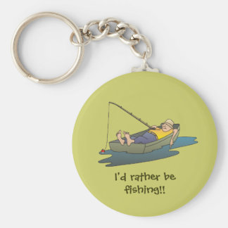 I'd rather be fishing - lazy boat day keychain