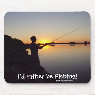 I'd rather be Fishing! Sunset Mousepad
