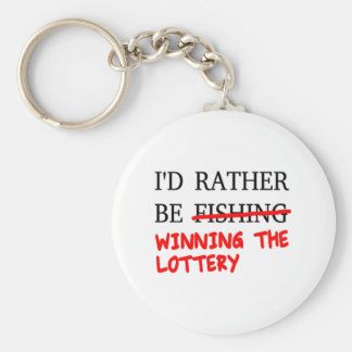 I'd Rather Be Fishing... Winning The Lottery Basic Round Button Keychain