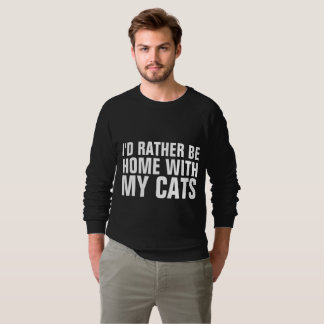 I'D RATHER BE HOME WITH MY CATS Funny Cat T-shirts