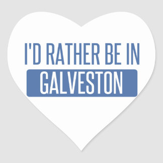 I'd rather be in Galveston Heart Sticker