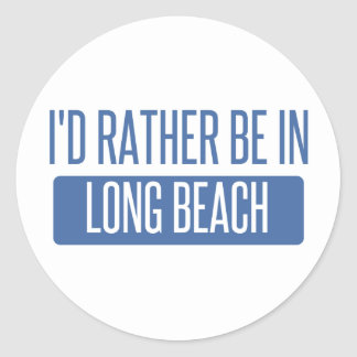 I'd rather be in Long Beach NY Classic Round Sticker