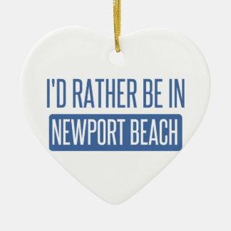 I'd rather be in Newport Beach Ceramic Heart Ornament