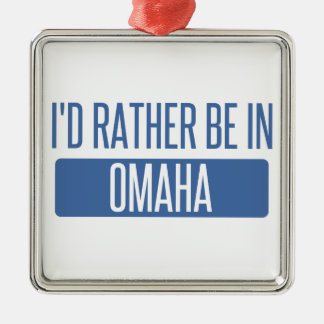 I'd rather be in Omaha Silver-Colored Square Ornament
