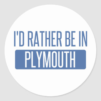 I'd rather be in Plymouth Classic Round Sticker
