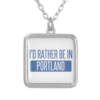 I'd rather be in Portland ME Silver Plated Necklace