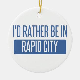 I'd rather be in Rapid City Round Ceramic Ornament