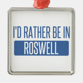 I'd rather be in Roswell GA Silver-Colored Square Ornament
