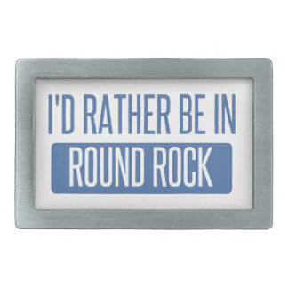 I'd rather be in Round Rock Rectangular Belt Buckles