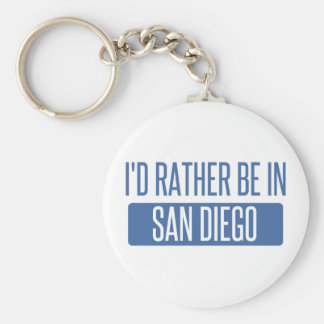 I'd rather be in San Diego Basic Round Button Keychain