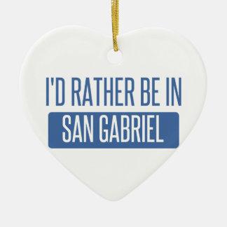 I'd rather be in San Gabriel Ceramic Heart Ornament