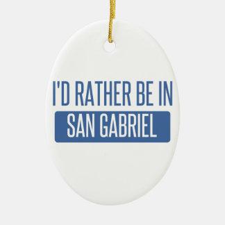 I'd rather be in San Gabriel Ceramic Oval Ornament