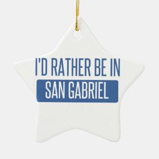 I'd rather be in San Gabriel Ceramic Star Ornament
