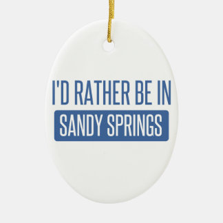 I'd rather be in Sandy Ceramic Oval Ornament