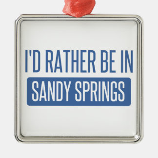 I'd rather be in Sandy Silver-Colored Square Ornament