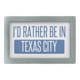 I'd rather be in Texas City Rectangular Belt Buckle