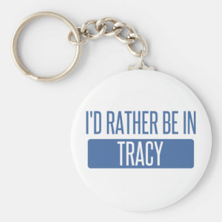 I'd rather be in Tracy Basic Round Button Keychain