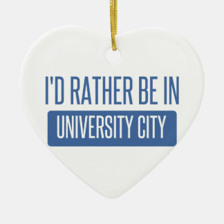 I'd rather be in University City Ceramic Heart Ornament