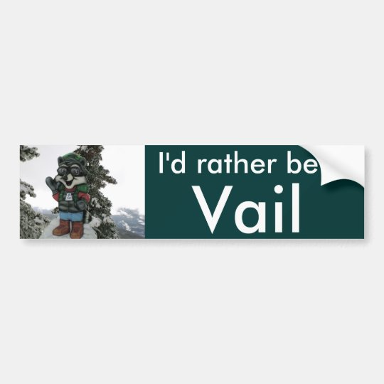 I'd Rather Be in Vail Snow Bumper Sticker