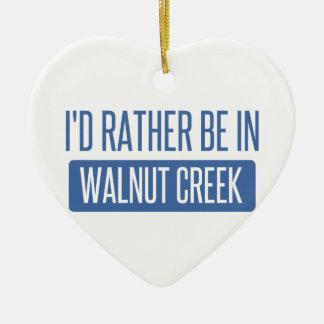 I'd rather be in Walnut Creek Ceramic Heart Ornament