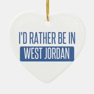 I'd rather be in West Jordan Ceramic Heart Ornament