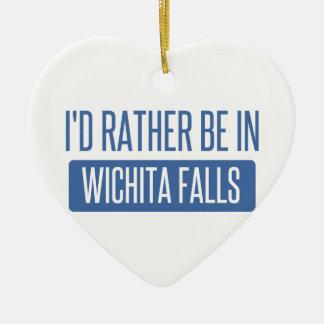 I'd rather be in Wichita Falls Ceramic Heart Ornament