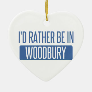 I'd rather be in Woodbury Ceramic Heart Ornament