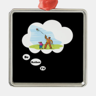 I'd rather be Kite Flying Silver-Colored Square Ornament