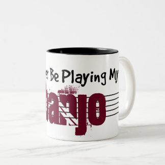 I'd Rather Be Playing My Banjo Two-Tone Coffee Mug