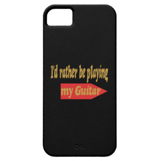 I'd Rather Be Playing My Guitar - Black background iPhone 5 Case