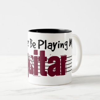 I'd Rather Be Playing My Guitar Two-Tone Coffee Mug