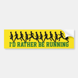 I'd Rather be Running: Runner Silhouettes Bumper Sticker