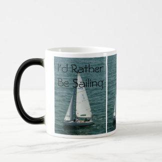 I'd Rather Be Sailing, white sailboat Magic Mug