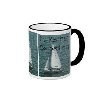 I'd Rather Be Sailing, white sailboat Coffee Mugs