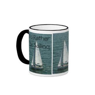 I'd Rather Be Sailing, white sailboat Ringer Mug