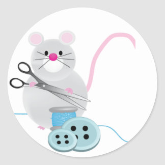 I'd rather be sewing! - mouse round sticker