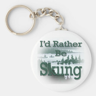 I'd Rather Be Skiing green Keychain